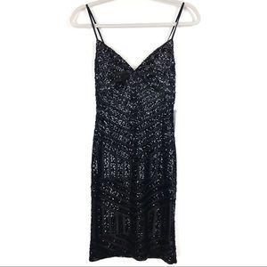 Express Patterned Sequin Slip Dress